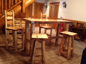Cedar pub table, stools, and chairs